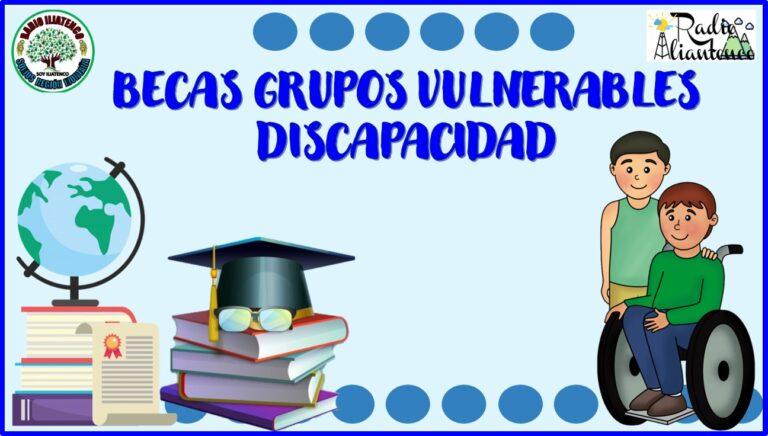 Becas grupos vulnerables discapacidad: Convocatoria